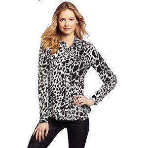 Isaac Mizrahi leopard print button down blouse